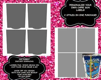 Capri Sun Label Template Instant Download Psd Format Curved Or Square Labels Party Favors Baby Sun Label Template