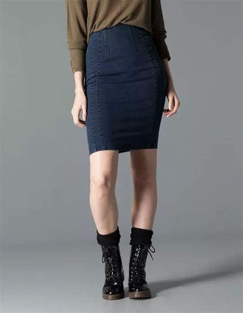 Denim Pencil Mini Skirt tc11 fashion summer stretch blue denim pencil