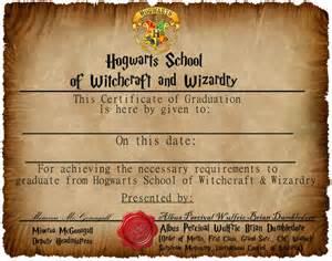 Harry Potter Certificate Template by Hogwarts Graduation Certificate Captainjackharkness