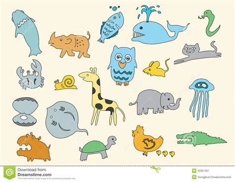 doodle animals vector free animal doodle child stock vector image