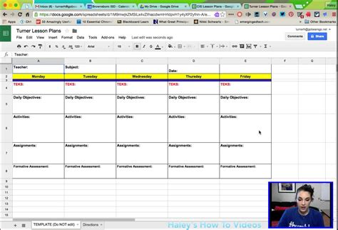 Creating Lesson Plans From A Template In Google Sheets Youtube Docs Templates