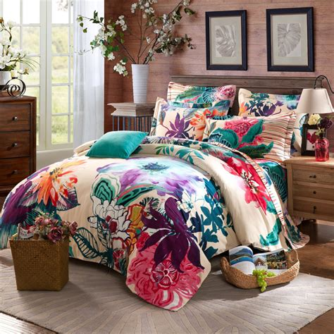 bed sets full twin full queen size 100 cotton bohemian boho style floral