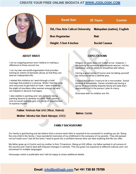 Marriage Resume Sles In India 9 Sle Biodata Format For Marriage With Bonus Writing Tips