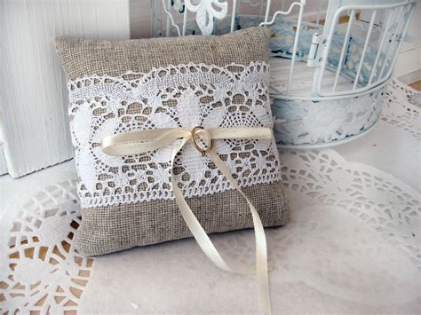 Burlap Wedding Pillows by Lace Rustic Wedding Pillow Burlap Wedding Ring By Brightbride