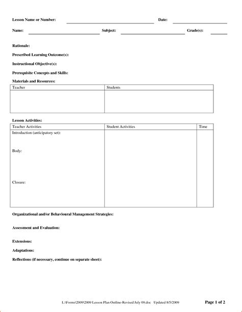 formal lesson plan template 7 sle lesson plan format bookletemplate org