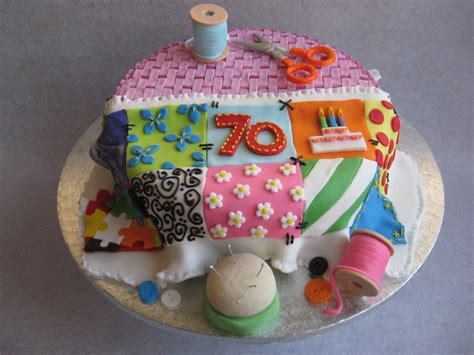 Patchwork Cakes - 70th birthday cake sewing basket with patchwork quilt