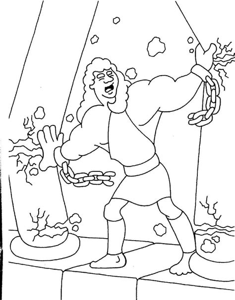Samson Pillars Coloring Page samson coloring pages coloring home