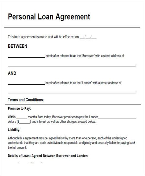 personal family loan agreement template individual loan agreement