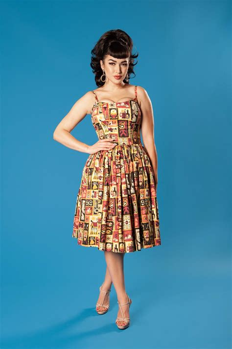 Dress Tile Jeanny pinup couture dress in brown and tiki tiles