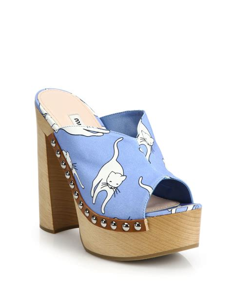clogs heels for miu miu cat print platform clog sandals lyst
