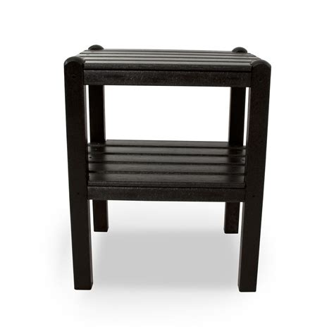black patio side table black two shelf side table polywood 174 end tables patio