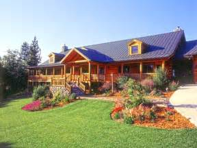 Small Log Cabins Floor Plans Landscaping On A Slope Log Home Landscaping Ideas For