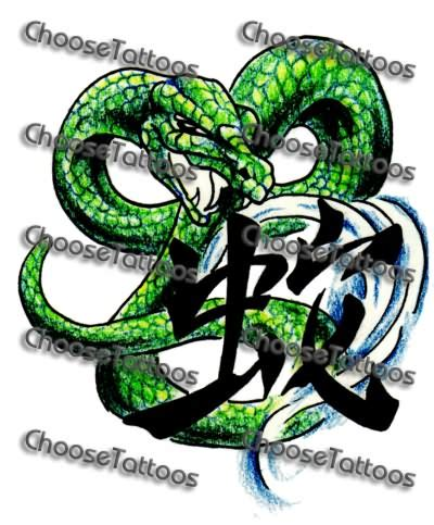 chinese snake tattoo designs green ink snake design