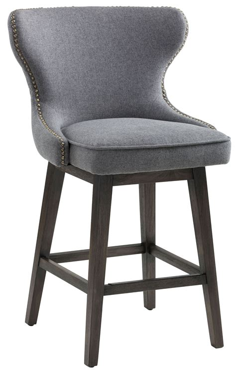 Black Swivel Counter Stools With Back by Grey Fabric Swivel Counter Stool 101153