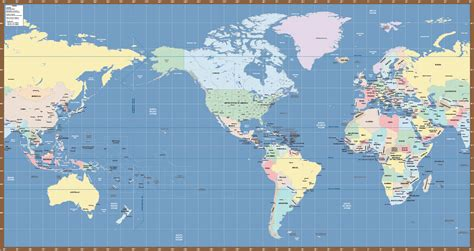 World Map Us Miller Map Digital Creative