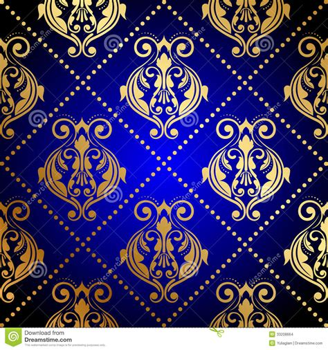 Royal Bedroom by Blue Background With Luxury Gold Ornament Stock Images