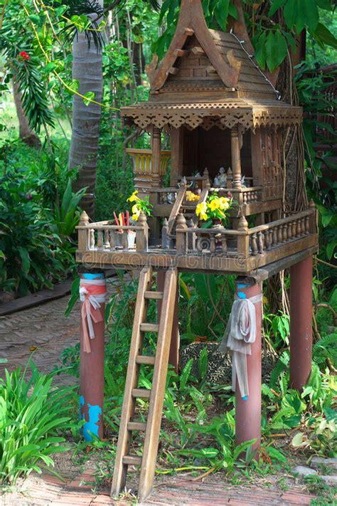 thai spirit house stock photo image  carved religion