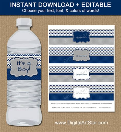 free water bottle labels for baby shower template digital printable decor boy baby shower