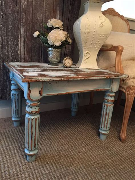 painted living room furniture chippy paint end table aqua turquoise blue rustic distressed chalk painted living room furniture