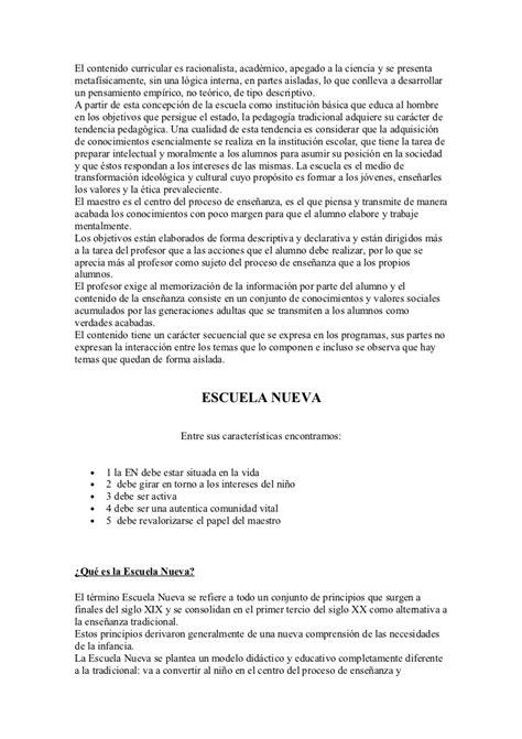 Modelo Curricular Racionalista Escuela Nueva Y Escuela Tradicional