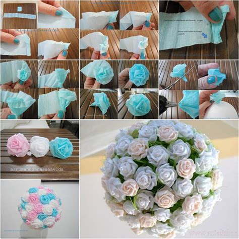 How To Make Flower Paper Balls - how to diy beautiful crepe paper flower