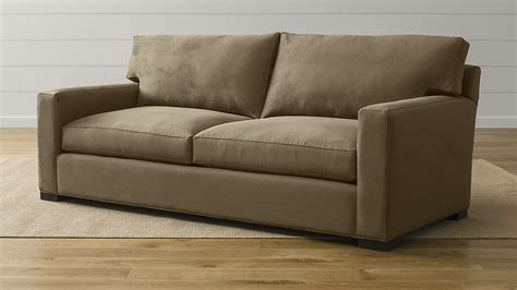 and sofa axis ii 2 seater brown microfiber sofa crate and barrel