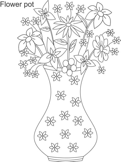 coloring page flower pot free coloring pages of pot of flowers