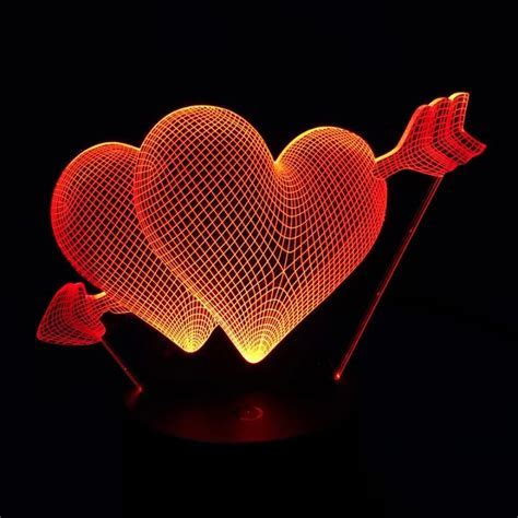 Beautiful RGB Love Heart Shape 3D Cupid's Arrow Night