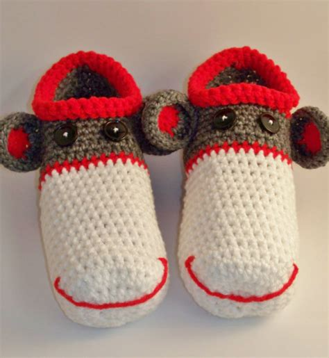 sock monkey house shoes mens adult sock monkey slippers by anniekscreations on etsy