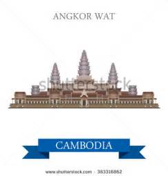 Angkor wat temple complex in cambodia flat cartoon style historic