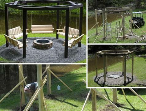 bench swing fire pit 22 amazingly diy patio and backyard swings interior