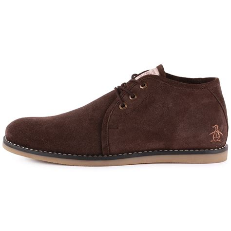 penguin mens boots penguin lawer mens suede trainers in brown