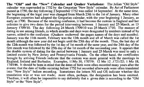 Calendar Was Changed In The 1750s Quakers In Great Britain