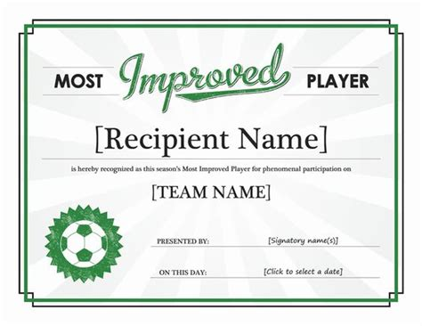 football certificates templates most improved player certificate templates office