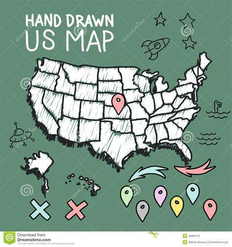 united states pin map us map with pins royalty free illustration