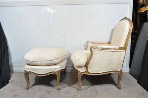 french bergere chair and ottoman vintage french louis xv style hand carved walnut bergere