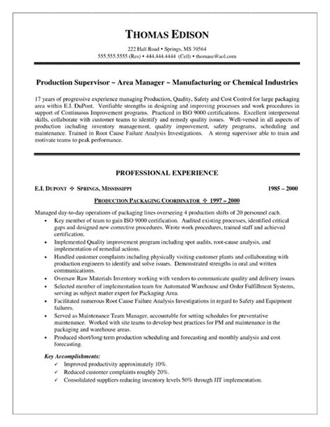 supervisor resume templates production supervisor resume exle