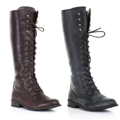 womens knee high lace up army flat low