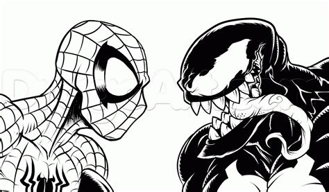 how to draw spider man vs venom step 19