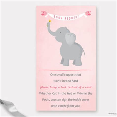 What Food To Bring To A Baby Shower by Elephant Book Request Card Baby Shower From Muse