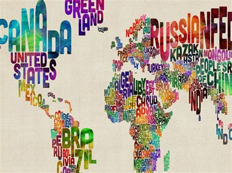 typography world map typography world map ii 18x24 canvas woot