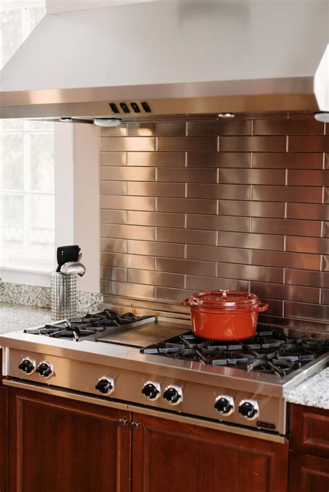 kitchen with stainless steel backsplash stainless steel backsplash the pros the cons and the ideas
