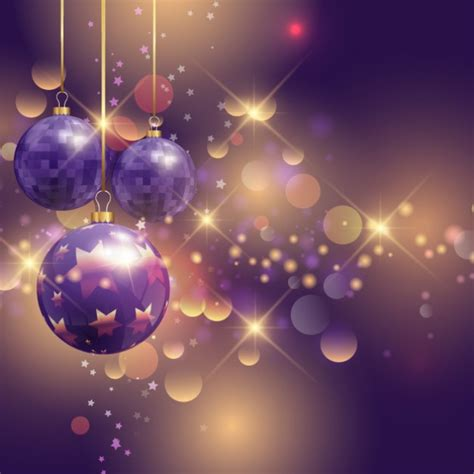 realistic purple christmas balls on a bright backgound