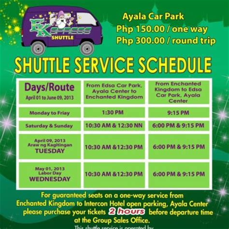 enchanted kingdom schedule 2016 enchanted kingdom shuttle service schedule pinoy99 news