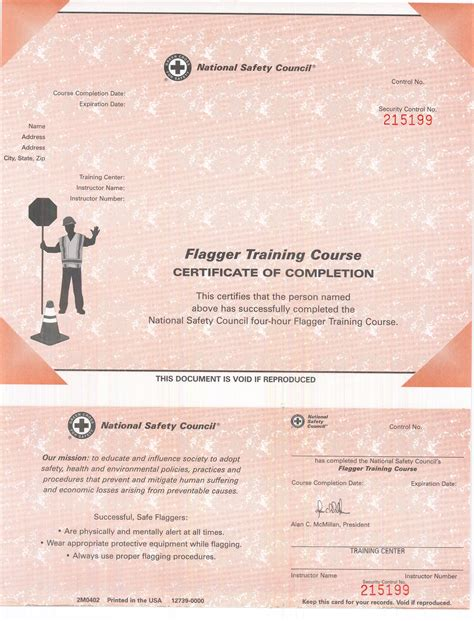 Flagger Certification Card Template flagger certification and the national work