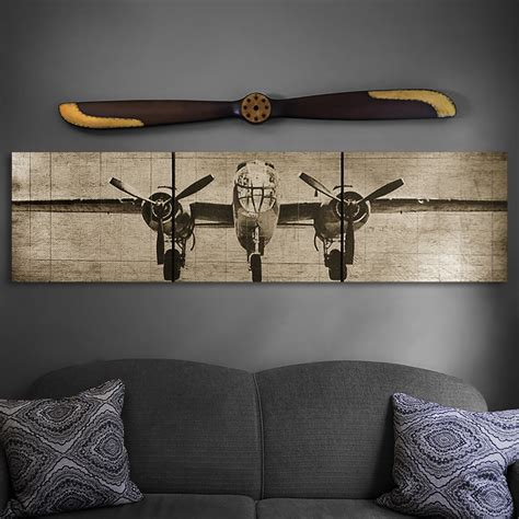 aviation home decor aviation home decor b 25 bomber plane wooden triptych wall