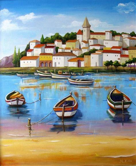boat paint cost oil painting blue sea boats coast italian landscape