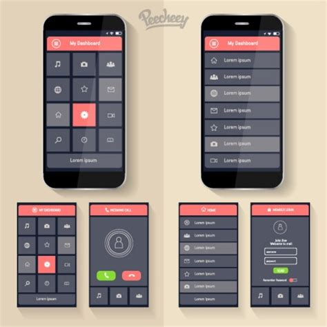 app design tutorial illustrator mockup application design for smartphones free vector in