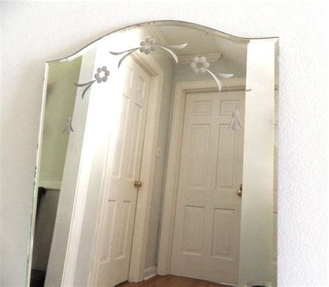 etched bathroom mirror vintage etched beveled mirror frameless by