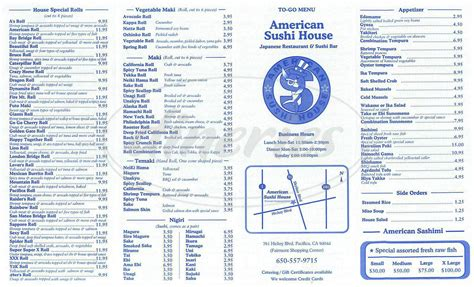 american sushi house menu pacifica dineries